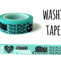 Meow °° Washi Tape. Masking Tape. 10 m