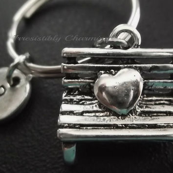 3D Love, bench keyring, keychain, bag charm, purse charm, monogram personalized custom gifts, choose your initial style item No.520