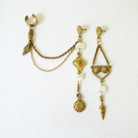 Ear Cuff & Single Earring. Crescent Moons and Brass