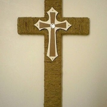 "JUTE, WHITE & BLING Wall Cross - Handwrapped Natural Jute/Twine Wood Cross w/ Handpainted Center Cross w/ Clear Rhinestone - 12"" x 7"""