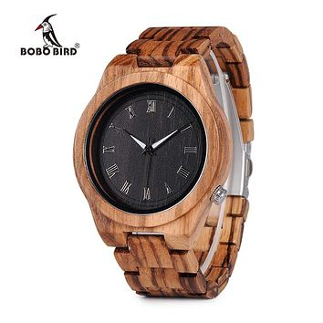 BOBO BIRD V-M30 Mens Watches Top Brand Luxury All Zebra Wood Quartz Wrist Watch for Male as Gift 2018 New Arrival