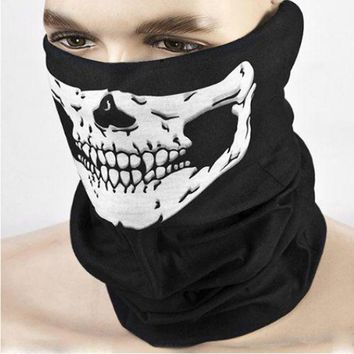 Black Skull Mask Bike Motorcycle Helmet Neck Face Mask Half Face Paintball Ski Sport Headband Military Game Masks Scarf