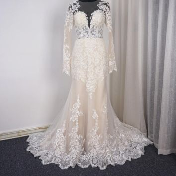 Long Sleeve Mermaid Light Champagne Wedding Dresses with Lace Appliqued Illusion Back