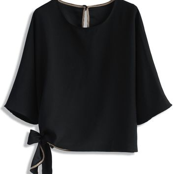 Batwing Bow Top in Black