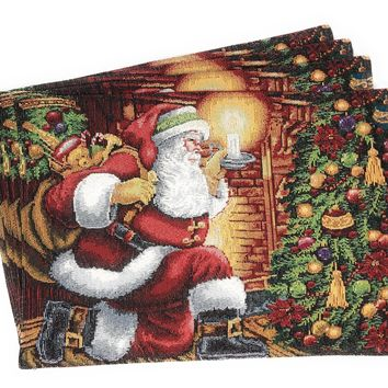 Tache Festive Down the Chimney Woven Tapestry Placemat (DB11533PM-1319)