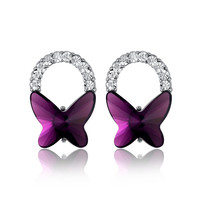 Butterfly Bow Swarovski Elements Crystal Stud Earrings - Purple