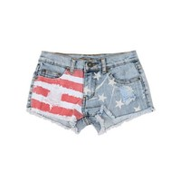 [The Classic Brand] Denim Girls 7-16 American Flag Jean Short
