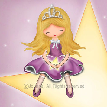 Children art print, girls room decor, kids wall art, princess wall art, purple