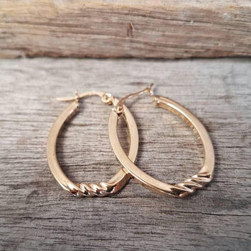 Vintage 9ct Gold Hoop Earrings , Large Twist Patten , Real Yellow Gold , Ladies Hoops , Gifts For Her