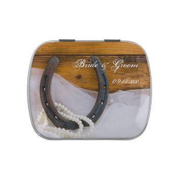 Horseshoe and Pearls Wedding Favor Candy Tin
