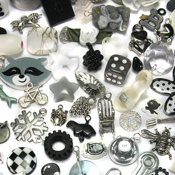 Black and White Trinkets Grab Bag - Kawaii Charms - Kitsch Charms Mystery Bag - Cute Beads Doodads for DIY Charm Bracelets - Lucky Dip