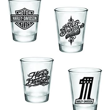 Gift Pack - Harley Davidson Shot Glasses - Set of 4 (2oz) - Great Gift Idea