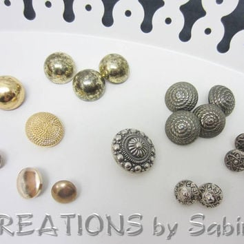 Vintage Silver Gold Buttons, Mixed Lot of 18 Shank Style Plastic Metal Buttons, Antique, Assorted Shapes and Ornaments, Supply Supplies (30)