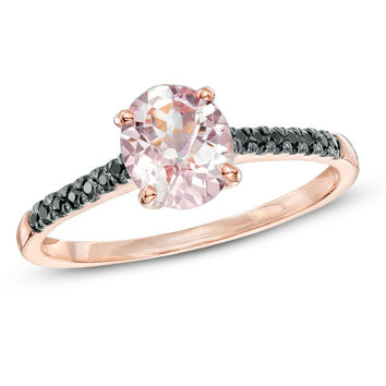 Oval Morganite and Enhanced Black Diamond Accent Ring in 10K Rose Gold