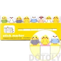 Adorable Parakeet Bird Shaped Sticky Memo Post-it Index Bookmark Tabs | Animal Themed Stationery