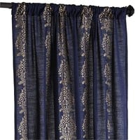 Damask Stripe Curtain - Indigo & Gold