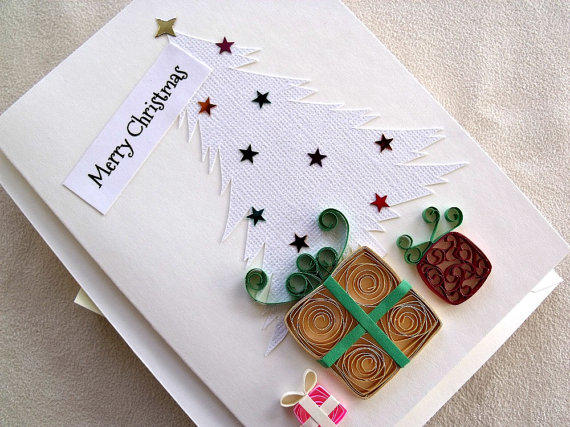 handmade paper quilled christmas card  from