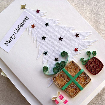handmade paper quilled Christmas card – Merry Christmas gifts