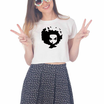 The Boondocks Huey Face For Womens Crop Shirt **