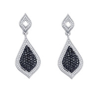 Black Diamond Fashion Earrings in 10k White Gold 2.15 ctw