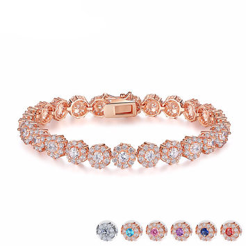 Elegant Cubic Zirconia Chain Link Bracelet - Available in Different Colors