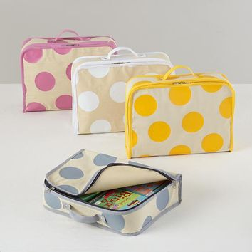 The Land of Nod | Kids Storage: Polka Dotted Cube Suitcase in Tabletop Storage