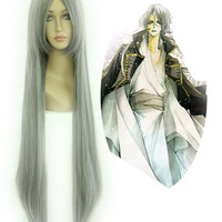 80cm LONG WIG Changan unreal night Gray Cosplay Costume Wig,Colorful Candy Colored synthetic Hair Extension Hair piece 1pcs WIG-017A