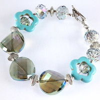 Mystic Teal Crystal and Magnesite Bracelet