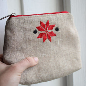 Embroidered cosmetic bag, purse, unique gift for your toiletries storage