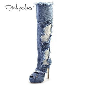 Pink Palms lace embroider sandals women summer shoes denim high heels over knee high s