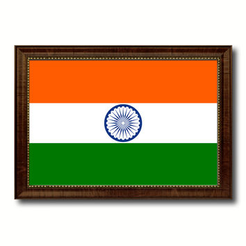 India Country Flag Canvas Print with Brown Picture Frame Home Decor Gifts Wall Art Decoration Gift Ideas