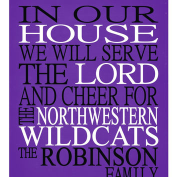 Customized Name Northwestern Wildcats NCAA personalized family print poster Christian gift sports wall art - multiple sizes