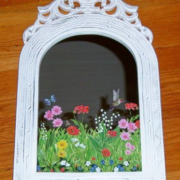 Ornate field of flowers wood mirror  clear by MoanasUniqueDesigns