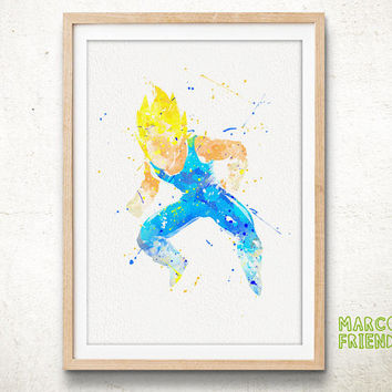 Super Saiyan, Vegeta - Watercolor, Art Print, Home decor, Wall Art, Watercolor Print, Dragon Ball Poster