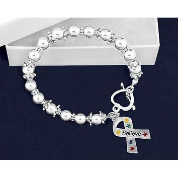 Believe Puzzle Piece Ribbon Beaded Bracelet for Heart Disease Awareness