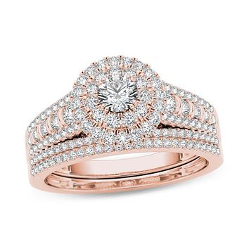 1 CT. T.W. Diamond Double Frame Multi-Row Bridal Engagement Ring Set in 14K Rose Gold