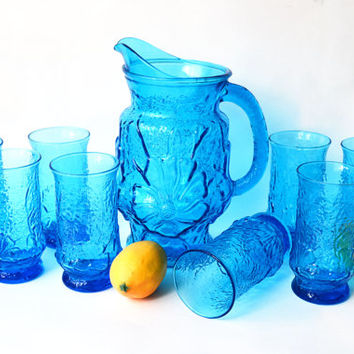 Vintage Glass Pitcher and 8 Glasses Anchor Hocking Rainflower Laser Blue