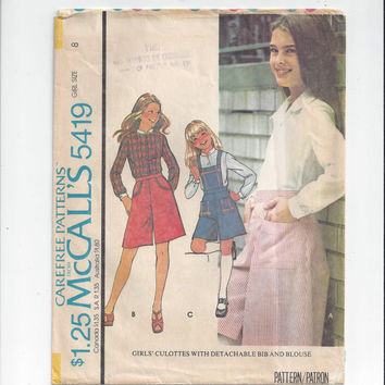 McCall's 5419 Vintage Pattern for Girls' Culottes with Detachable Bib & Blouse, Size 8, From 1976, Cute Home Sewing Vintage Pattern, Girls