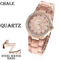 Chale Quartz Watch / Rose Gold Stainless Steel Elegant Womens Watch = 1931916100