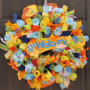 Flip Flop Deco Mesh Welcome Wreath for Summer