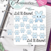 Sticker Sheet Snowflakes Kawaii Erin Condren, Happy Planner, Filofax, Kikki K -NR190