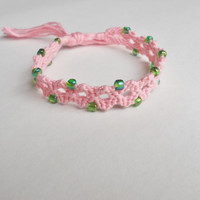 Handmade Bracelet - Light Pink Donut Hole Pattern with Small Green Beads