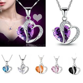 Fashion Women M-TARA 1 PC 925 Sterling Silver Plated Blue White Crystal Gemstone Amethyst Heart Pendant Necklace Gift