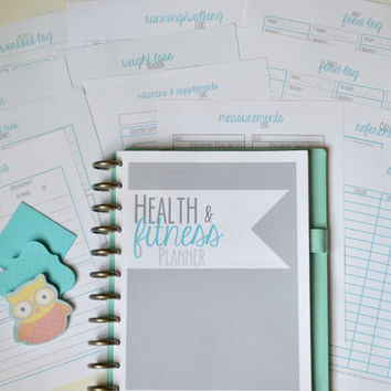 Fitness Planner, Fitness Journal, Printable Planner, Weight Loss Tracker, Workout Tracker, Food Log, 13 Pages,Instant Download,Editable,BLUE
