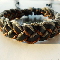 Spring Gift Fashion Multilayer Colorful Braided Blue Cotton ropes Woven Brown Leather Wrap Bracelet W-55