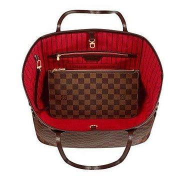 DCCKB62 Louis Vuitton Trending Fashion Casual Damier Canvas Neverfull MM Red Shoulder Handbag Article: N41358 Made in France G