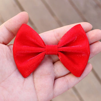 """3 colors available- 3.25"""" small bow, shimmering hair bow, small hair bow, red hair bow, black hair bow, cream, kids hair clip, girls hairbow"""