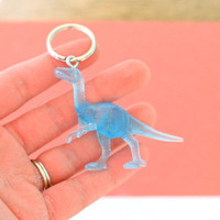 DINOSAUR Keychain...dangly. novelty. dino. retro. science. kitsch jewelry. plastic toy. blue dino. dino crazy. jurassic park. brachiosaurus