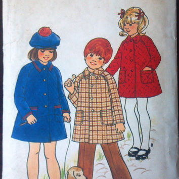 Butterick 4473 Pattern for Children's Coat, Size 6, Cute Pattern from Mid 1970s.