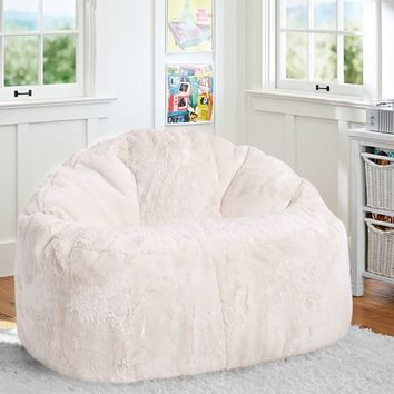 "Ivory Polar Bear Faux-Fur Cloud Couch (45"")"